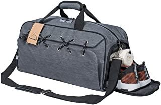 Sports Gym Bag with Shoes Compartment &Badminton Racket Bag,Waterproof Travel Duffel Bag for Men and Women(Gray)