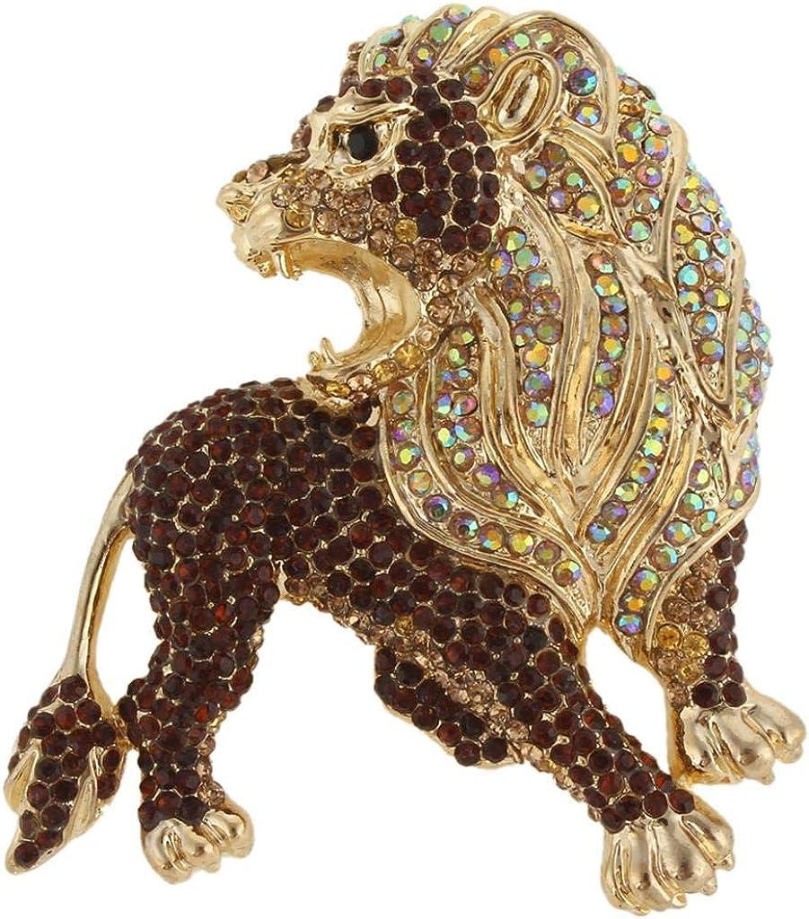 EVER FAITH Roaring King Lion Austrian Crystal Brooch