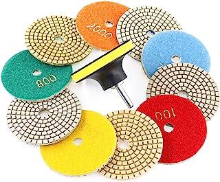 Swpeet 11Pcs Diamond Polishing Pads Kit, 10Pcs 3 Inch Wet/Dry Polishing Kit Polishing pads Kit with 1Pcs 3 Inch Yellow Bac...