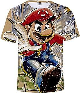Silver Basic Camiseta de Manga Corta con gráfico de Verano de Super Mario para niños Camiseta de Manga Corta
