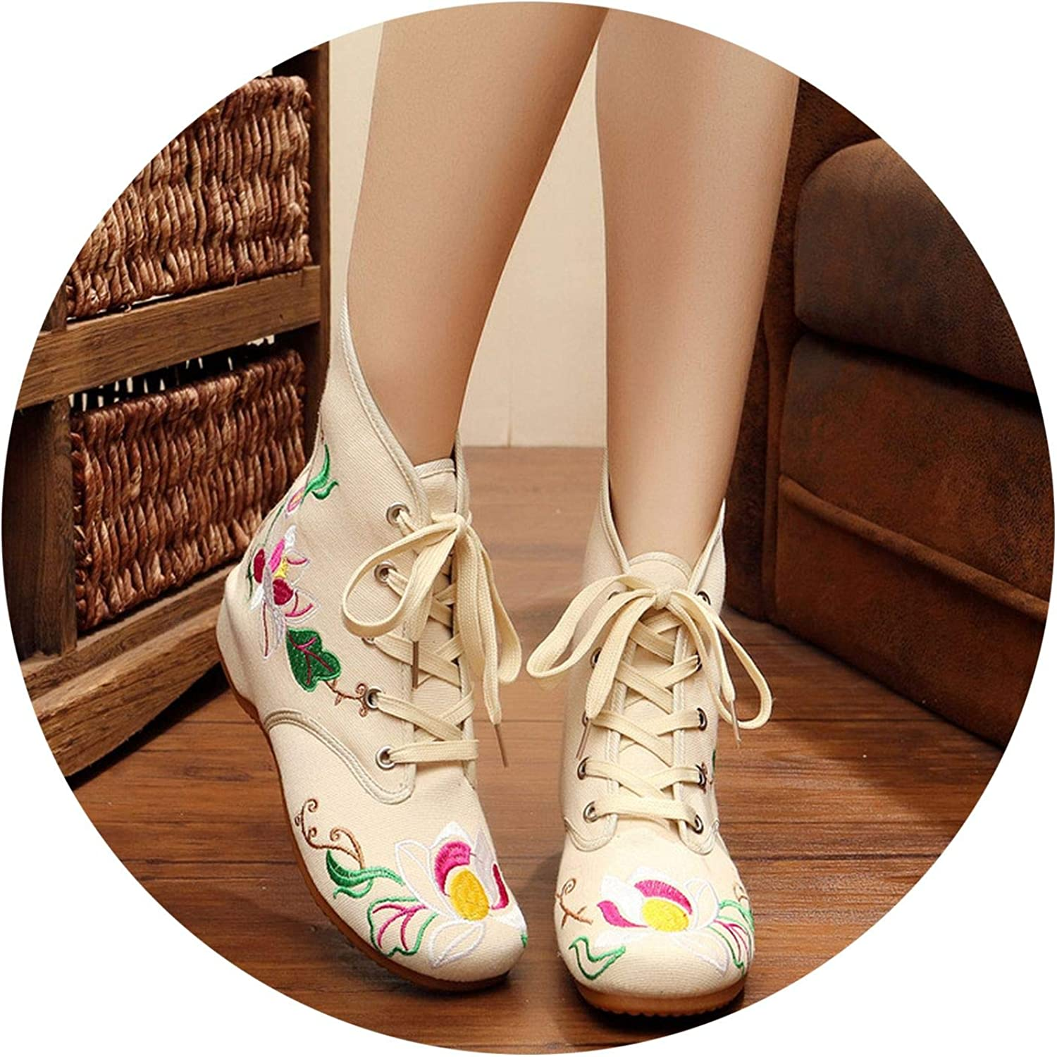 Superb Zone Spring Women shoes Embroidered Canvas shoes Increased Boots,White,6