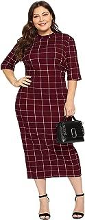 Women's Short Sleeve Plus Size Gingham Bodycon Business Pencil Dress