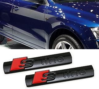 Deselen - LP-BS06 - Car Emblem Chrome Stickers Decals Badge Labeling for S Line A3, A4, A6, Q3,Q5, Q7, S6, S8, Pack of 2 (Black)