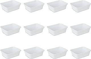 Sterilite 06568012 8 Quart Dishpan, White, 12-Pack