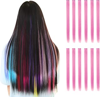 Rosette Hair 20 Inch 10pcs/set Multiple Colors Colored Hair Extensions-Party Highlights Straight Heat Hairpieces-Synthetic Clip on in Hair Extensions (pink)