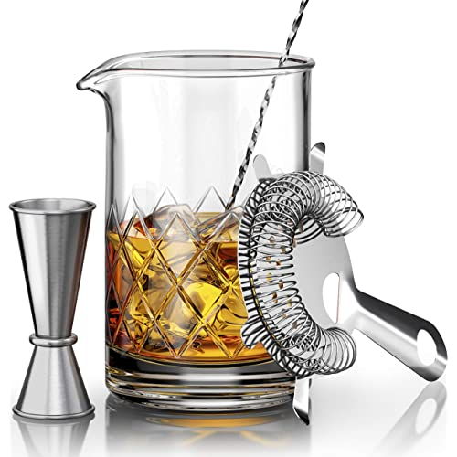 MOFADO Crystal Cocktail Mixing Glass Set - 4 Piece - 18oz 550ml Thick Bottom Crystal Mixing Glass, Spoon, Jigger, Strainer - Perfect for Amateurs & Pros - Makes a Great Gift