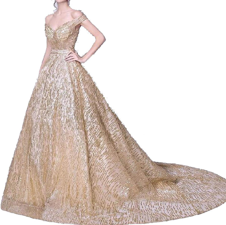 Jxfd Womens Sequin Off Shoulder Lace Wedding Dresses Bride Ball Gonw Bridal
