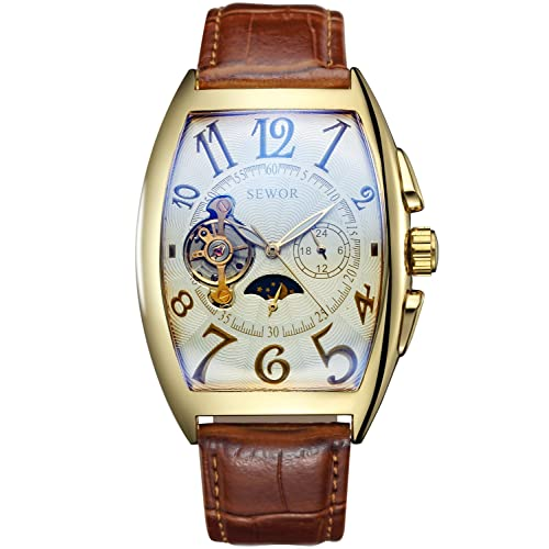 SEWOR Mens Automatic Business Dress Tonneau Shaped Moon Phase Wrist Watch Mechanical Self Wind