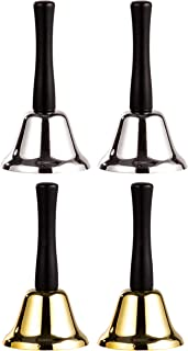 Juvale 4-Count Steel Hand Bells with Wooden Handles for Ringing, Service Call, Dinner, School, Church, Elderly, Wedding De...