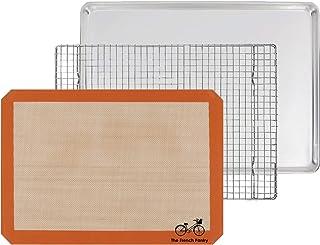 Ensemble de cuisine 3 pièces pour cadeau - Plateau en aluminium, Plaque de cuisson SIL-MAT en silicone et Grille dessous d...