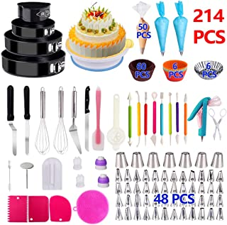 Cake Decorating Supplies,214 PCS Baking Set with Springform Cake Pans Set, Cake Rotating Turntable, Cake Decorating Kits, Muffin Cup Molds, Perfect Cake Baking Supplies for Beginners and Cake Lovers
