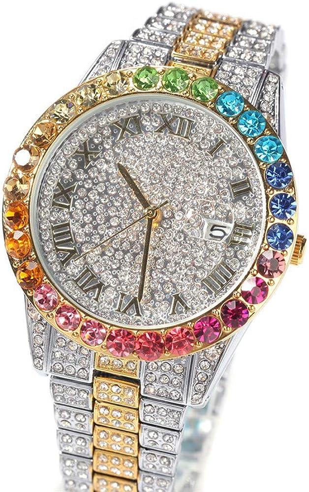 Fantex Reloj para hombre con diamantes de imitación austriacos de 42 mm con diamantes de imitación de circonita transparente