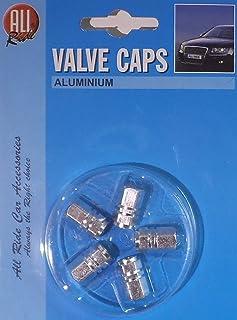 Ventilkappen aus Aluminium von ALL RIDE Sechskant Kolben Design Silber