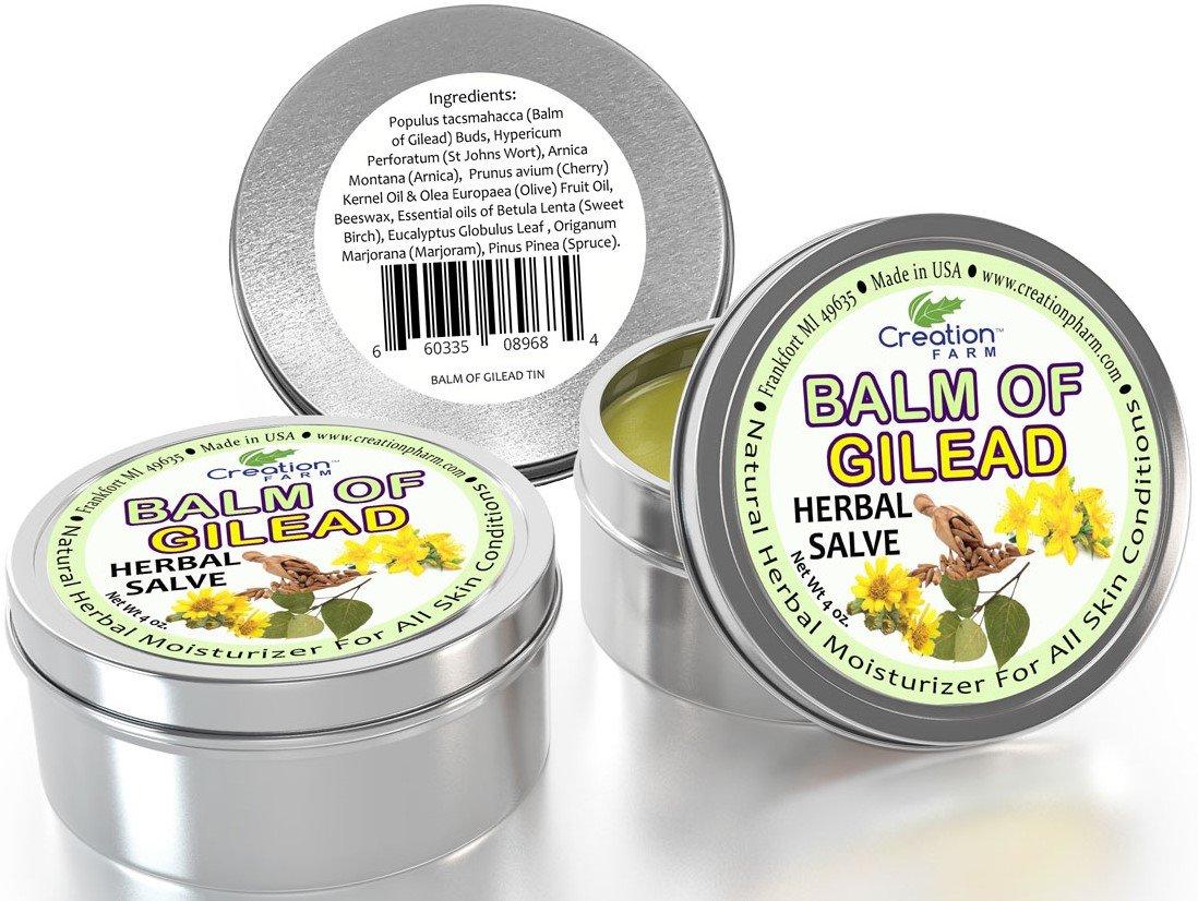 正規認証品!新規格 Creation Farm Balm of お見舞い Gilead Herbal Salve - Pack 4 3 Ti oz Large