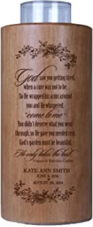 """LifeSong Milestones Personalized Memorial Funeral Candle Holder for Loss of Loved one, Mother, Father, Parent, Son, Daughter 8"""" Solid Cherry Wood Votive Holder Made in The USA (God Saw You)"""
