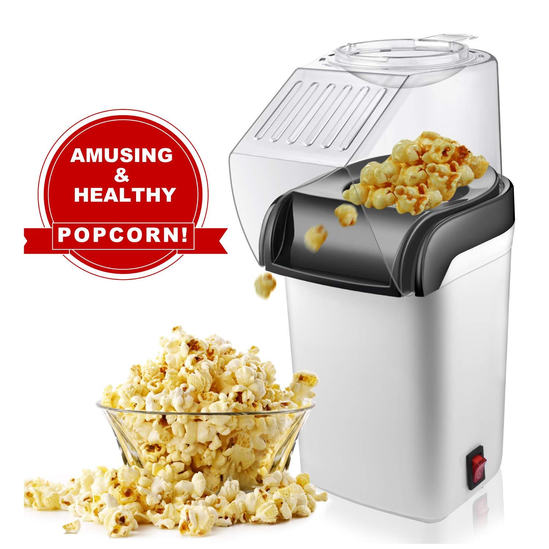 M-MASTER Máquina para hacer palomitas de maíz, palomitas de maíz de aire caliente con diseño de boca ancha, sin aceite, máquina eléctrica de palomitas de maíz con tapa extraíble para uso doméstico: