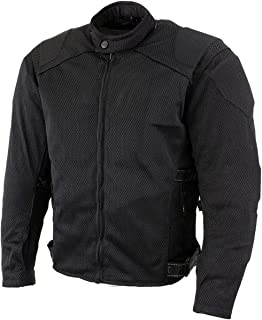 Xelement CF2157 Men's Black Mesh Motorcycle Jacket with Level-3 Advanced Armor - X-Large