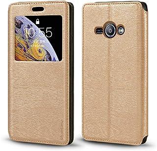 جراب Samsung Galaxy J1 Ace ، جراب جلدي فاخر من الخشب المحبب مع فتحة بطاقة وغطاء قلاب مغناطيسي واقٍ لهاتف Samsung Galaxy J1...