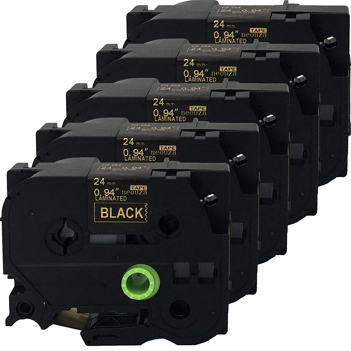 NEOUZA 5PK Compatible For Brother P-Touch Laminated Tze TZ Label Tape Cartridge 24mm x 8m (TZe-354 Gold on Black)