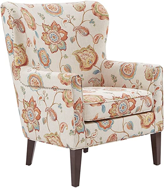 Madison Park MP100 0465 Colette Accent Chairs Hardwood Plywood Wing Back Living Armchair Modern Classic Style Family Room Sofa Furniture Cream