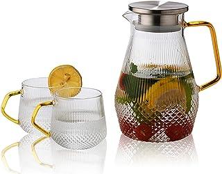耐熱ガラスポット ディーポット ガラスピッチャー コーヒーガラスポット ケトル 冷水筒 麦茶ポット 直火対応 洗いやすい ホーム(S.D.I (1ポットと2カップ)