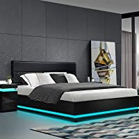 Artiss Double Bed Frame LED Leather Gas Lift Storage Black
