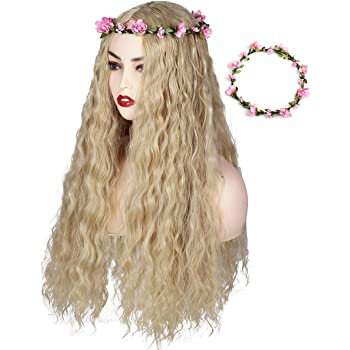 ColorGround Long Blonde Fluffy Cosplay Wig with Pink Flower Headband for Women