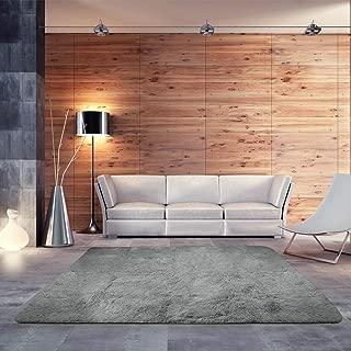 BlueSnail Super Ultra Soft Modern Shag Area Rugs, Bedroom Livingroom Sittingroom Floor Rug Carpet Blanket for Children Play Home Decorate (4' x 5.3', Rectangle, Grey)