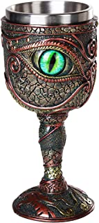The Eye of the Dragon Mystical Fantasy Chalice 7oz Wine Goblet with Removable Stainless Steel Insert