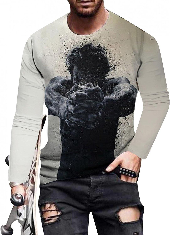Huangse Men's Hip Hop Streetwear T-Shirt Abstract Meditation Portrait 3D Print Tees Long Sleeve Crewneck Top Blouse