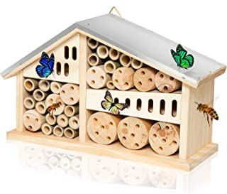 Vumdua Mason Bee House Hotel, Natural Wooden Bee Hive Pollinator Garden House Tube Nest for Mason Bee Bug Insect Butterfly...