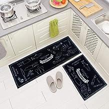 "Carvapet 2 Piece Microfiber Non-Slip Kitchen Mat Rubber Backing Doormat Runner Rug Set, Cozinha Design (Black 15""x47""+15""x..."