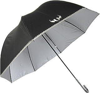 Lサイズ 晴雨兼用 日傘 UVカット 紫外線遮蔽率99% 生地裏シルバーコーティング ネコ柄 かわいいドーム型(深張仕様) 60cm 手開き傘 (黒)