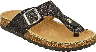 Fashion Thirsty Womens Flat Sandals Glitter Flip Flops Slip On Toe Post Thong Grip