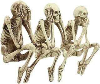 Ebros Whimsical See No Evil Hear No Evil Speak No Evil Skeletons Shelf Sitter Figurines 3.75