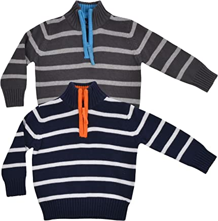 Baby Boys Jumper Minoti Scare Black Grey Striped Knitted Jumper Black Striped