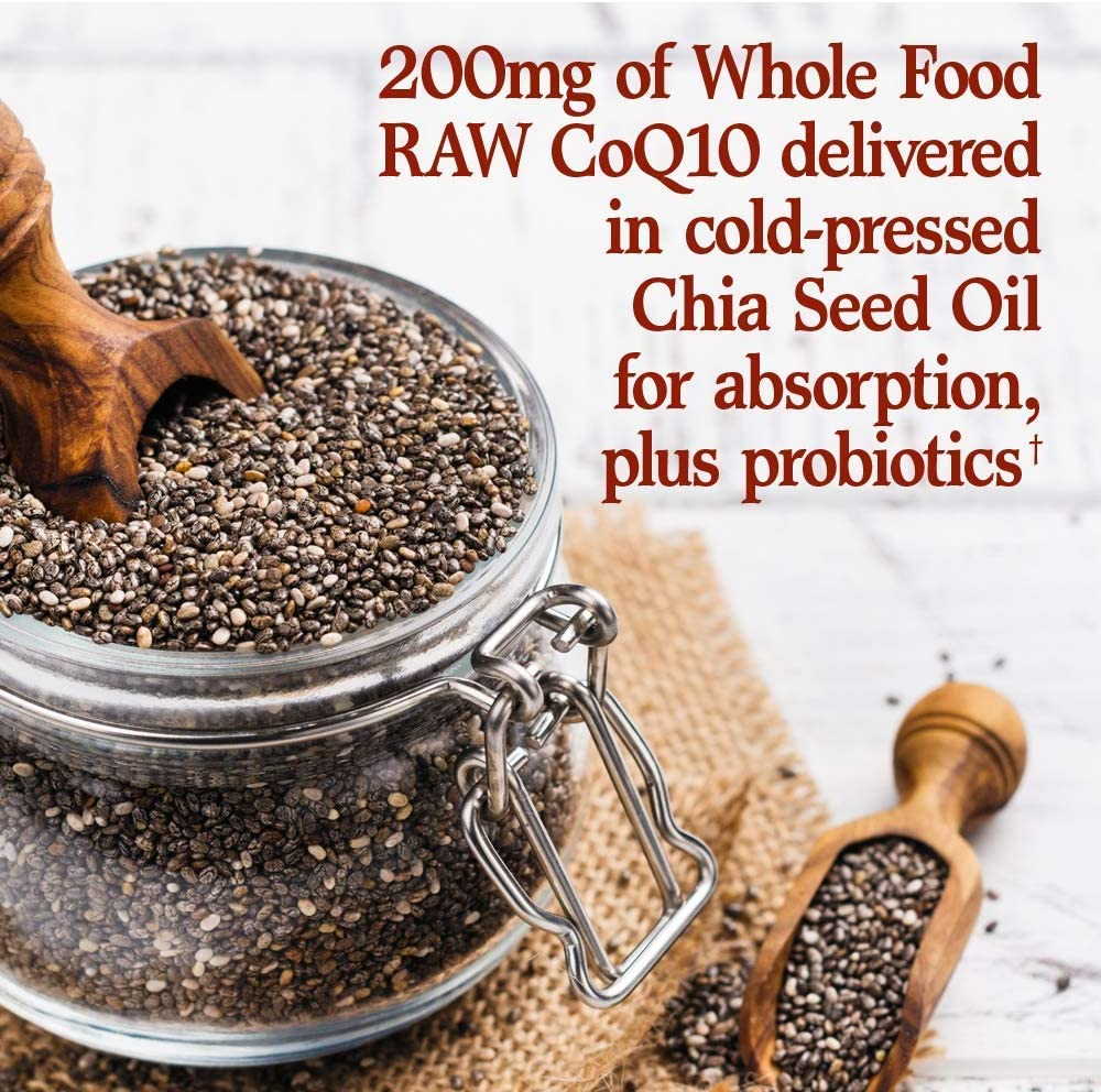 Garden of Life Vegetarian Omega 3 6 9 Supplement - Raw CoQ10 Chia Seed Oil Whole Food Nutrition with Antioxidant Support, 60 Count