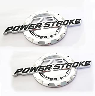 2pcs OEM 7.3L Power Stroke Super Duty Side Fender Emblems Badge Powerstroke Replacement for F250 F350 Chrome Glossy