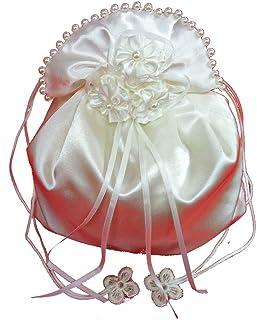 LadyMYP© Brautbeutel, Brauthandtasche mit Blüten aus Satin & Perlen, weiß/Ivory(hellcreme, Elfenbein), Hochzeit, Kommunio...