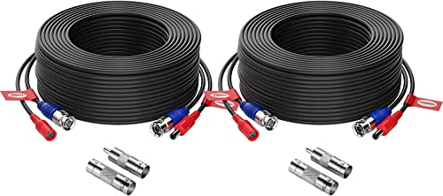 ZOSI 2 Pack 100ft (30 Meters) 2-in-1 Video Power Cable, BNC Extension Surveillance Camera Cables for Video Security S...