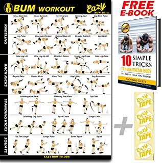 Butt Workout Exercise Banner Poster - Tone, Firm, Shape, Lift & Grow a Bigger Bum At Home - Big Gym Chart 28 X 20