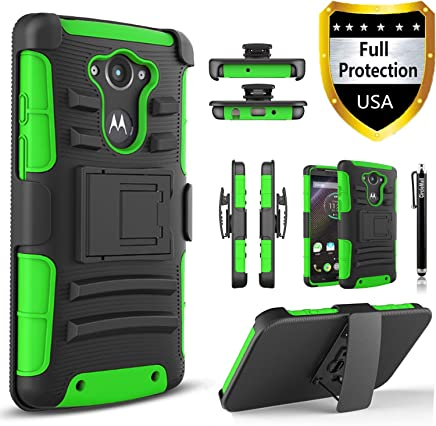 Droid Turbo Case, Circlemalls Dual Layers [Combo Holster] and Built-in Kickstand Bundled with Dual Layers Protection Hybrid Shockproof Phone Case and Stylus Pen for Motorola Droid Turbo XT1254-Green