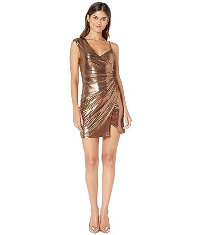 BCBGMAXAZRIA Metallic One Shoulder Shirred Dress (Rose Gold) Women