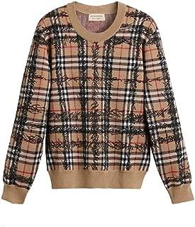 BURBERRY Women's Check Scribble Merino Wool Sweater