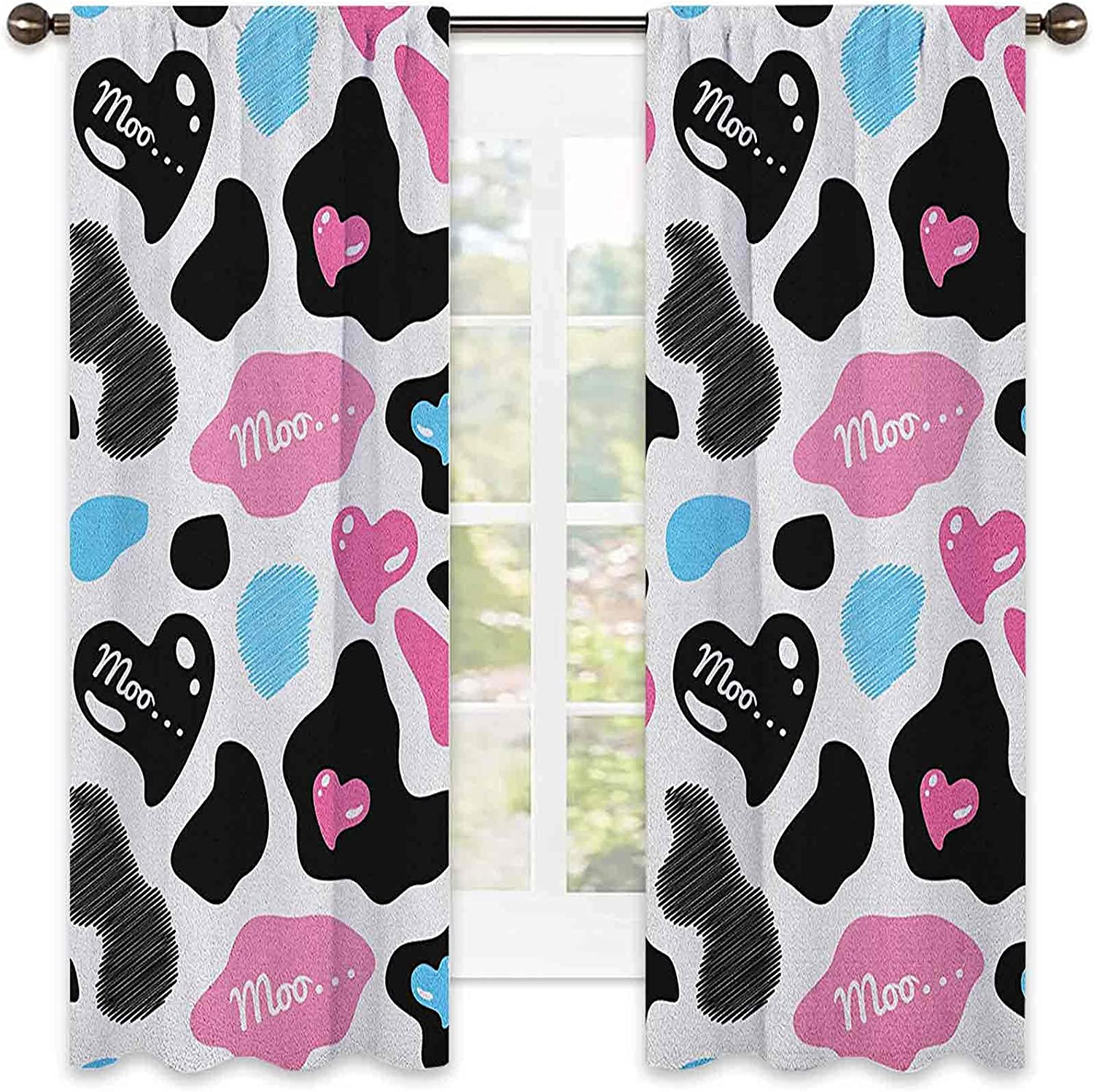 Mail order cheap Cow Print Heat Insulation Curtain Moo Barn Hearts overseas Hide with