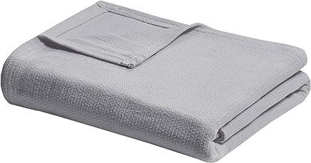 Madison Park Freshspun Basketweave Cotton Blanket Grey King