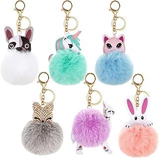 6 Pieces Cute Animal Pom Pom Keychain Faux Fur Fluffy Key Ring for Women Girls