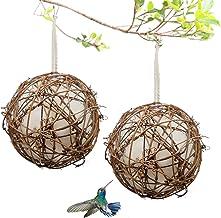 Gute Globe Hummingbird Nesters, Hummingbird Nesting Houses Set of 2, Bird Nesting Materials Holder, Refillable Cotton Ball...