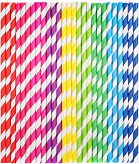 Tomnk 225pcs Stripe Paper Straw Drinking for Carious Drinking Decorations Parties Birthday Parties Weddings with All The Color of The Rainbow