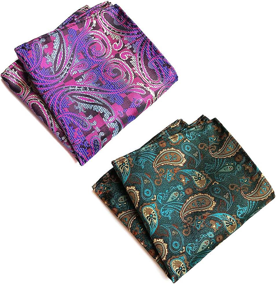 yeesport Men Pocket Square Silk 2PCS Decorative Patterned Casual Classic Printed Soft Suit Handkerchief Pocket